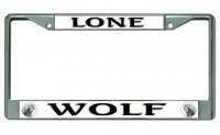 Lone Wolf Chrome License Plate Frame