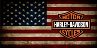 Harley-Davidson Logo On American Flag Photo License Plate