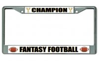 Fantasy Football Champion Chrome License Plate Frame