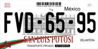 Mexico San Luis Potosi Photo License Plate