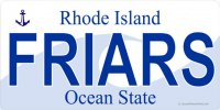 RI Friars Photo License Plate