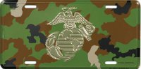 Marine Logo On Camouflage Metal license Plate