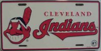 Cleveland Indians White License Plate