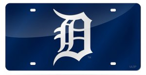 "Detroit Tigers Blue Laser White ""D"" License Plate"