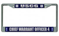 U.S. Coast Guard Warrant Officer 4 Chrome License Plate Frame