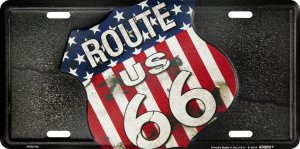 ROUTE 66 American Flag Shield Metal License Plate