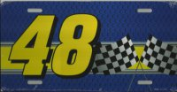 Racing #48 with Checkered Flags License Plate