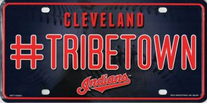 Cleveland Indians #TribeTown Metal License Plate