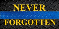 Never Forgotten Diamond Plate Photo License Plate