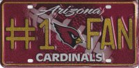 Arizona Cardinals #1 Fan Glitter License Plate