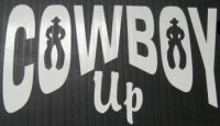 "Cowboy Up White 4"" x 4"" Decal"