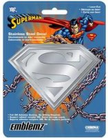 "Silver 6"" x 8"" Superman Stainless Steel Decal"