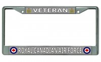 Veteran Royal Canadian Air Force Chrome License Plate Frame