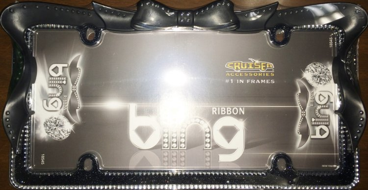 ca18545 black ribbon bow crystal bling license plate frame ca18545 larger image