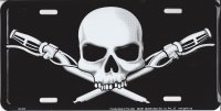 Motorcycle Handlebars Skull And Crossbones Metal License Plate