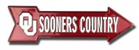 Oklahoma Sooners Country Metal Arrow Street Sign