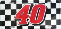 NASCAR #40 Racing Flag License Plate