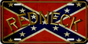 Redneck Confederate Flag Metal License Plate