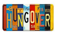 HUNGOVER Cut Style Metal Art License Plate