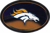 Denver Broncos Chrome Die Cut Oval Decal