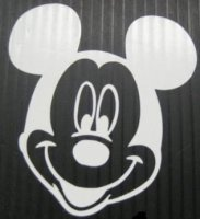 "Mickey Mouse Head White 4"" x 4"" Decal"