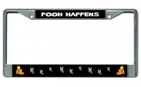 Pooh Happens Chrome License Plate Frame