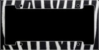 Zebra Metal License Plate Frame