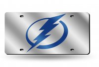 "Tampa Bay Lightning ""Circle Bolt"" Silver Laser License Plate"