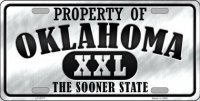 Property Of Oklahoma Metal License Plate