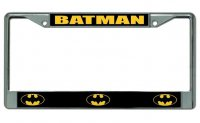 Batman Logo Chrome License Plate Frame