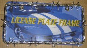 Two Hole Chrome Barbed Wire License Plate Frame