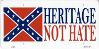 Heritage Not Hate Confederate Metal License Plate