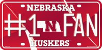 Nebraska Huskers #1 Fan Metal License Plate