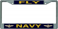 Fly Navy Chrome License Plate Frame