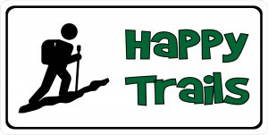 Happy Trails Hiking Photo License Plate