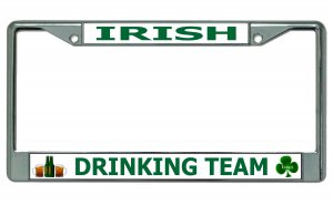 Irish Drinking Team Chrome License Plate Frame