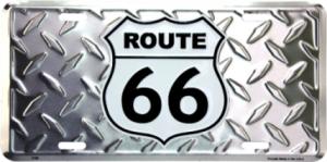 ROUTE 66 Diamond Plate Metal License Plate