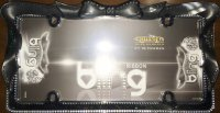 Black Ribbon Bow Crystal Bling License Plate Frame