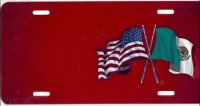 American/Mexican Flags on Red Offset License Plate