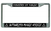 Authorized Muggle Vehicle Chrome License Plate Frame