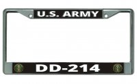 DD-214 U.S. Army Chrome License Plate Frame