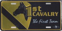1st Cavalry The First Team Metal License Plate