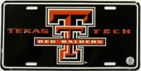Texas Tech Red Raiders Black License Plate