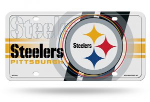 Pittsburgh Steelers White Circle Design Metal License Plate
