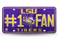 LSU Tigers #1 Fan Glitter License Plate