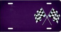 Checkered Flag (Purple) Offset License Plate