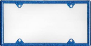 Blue Metallic Plastic License Plate Frame