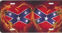 Rebel Hearts w/ Flames Airbrush License Plate