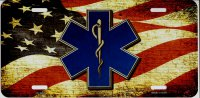 EMT Logo On American Flag Metal License Plate
