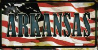 Arkansas On American Flag Metal License Plate